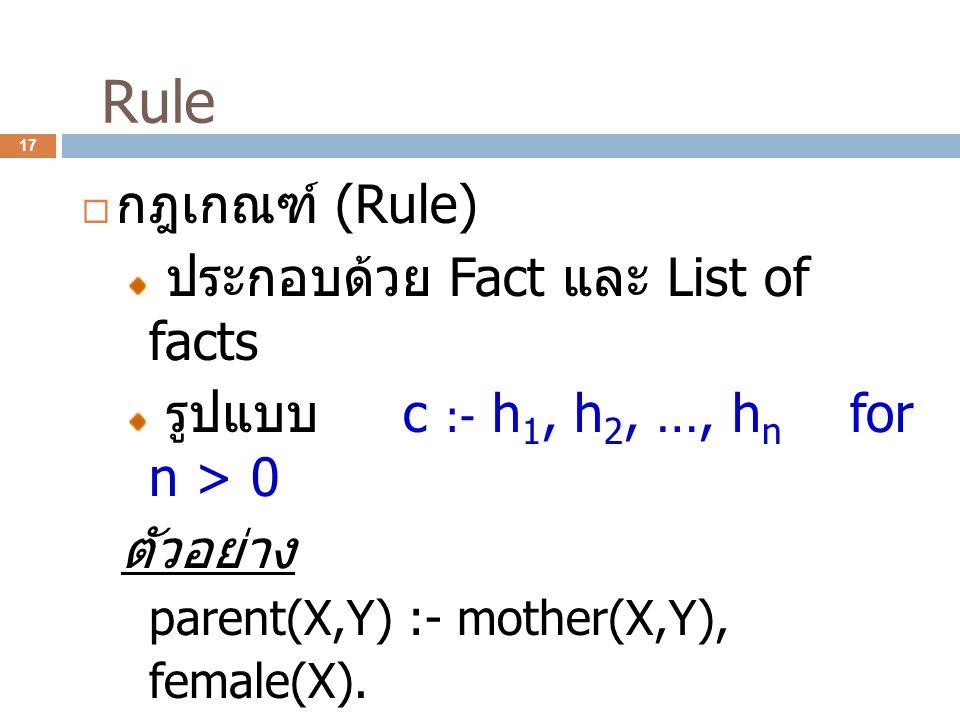 Rule กฎเกณฑ์ (Rule) ประกอบด้วย Fact และ List of facts