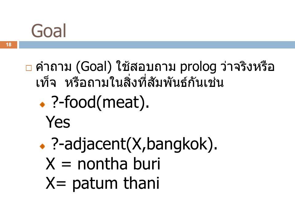 Goal คำถาม (Goal) ใช้สอบถาม prolog ว่าจริงหรือเท็จ หรือถามในสิ่งที่ สัมพันธ์กันเช่น. -food(meat). Yes.