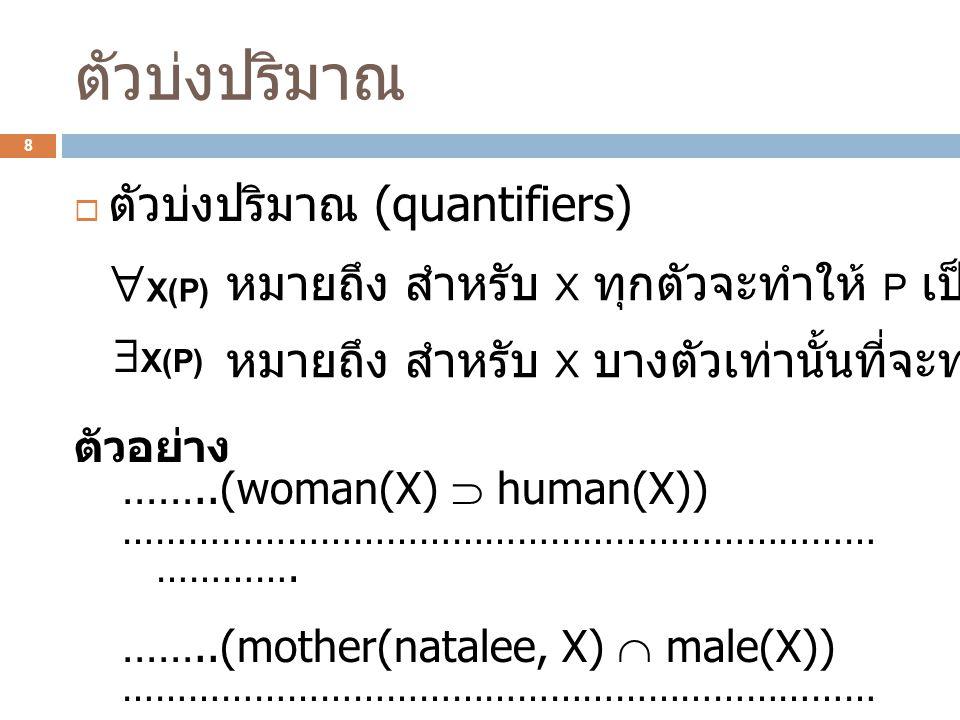 ตัวบ่งปริมาณ X(P) ตัวบ่งปริมาณ (quantifiers)
