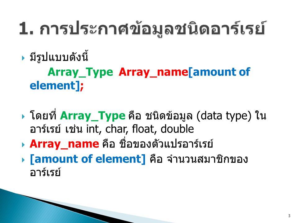 1. การประกาศข้อมูลชนิดอาร์เรย์