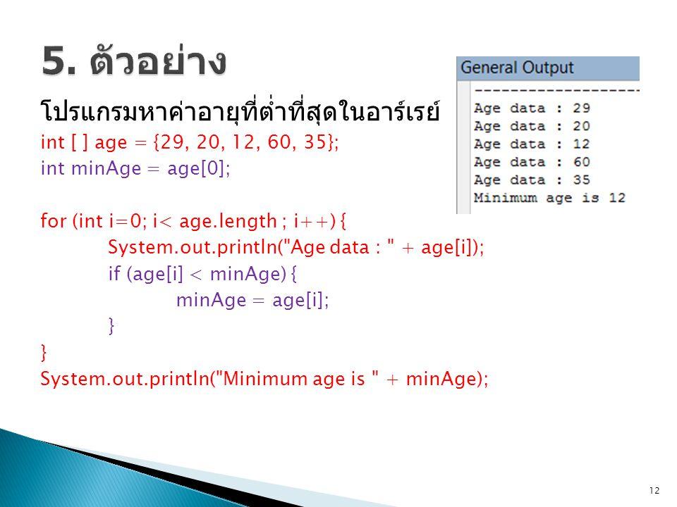 5. ตัวอย่าง โปรแกรมหาค่าอายุที่ต่ำที่สุดในอาร์เรย์