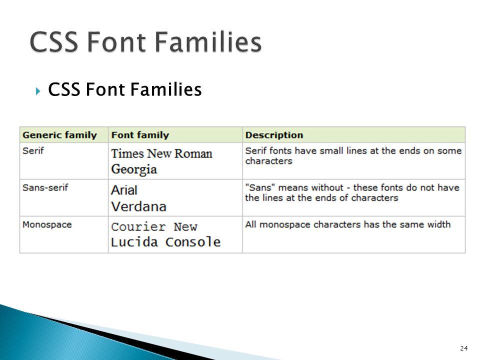 CSS Font Families CSS Font Families