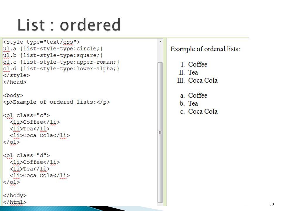 List : ordered