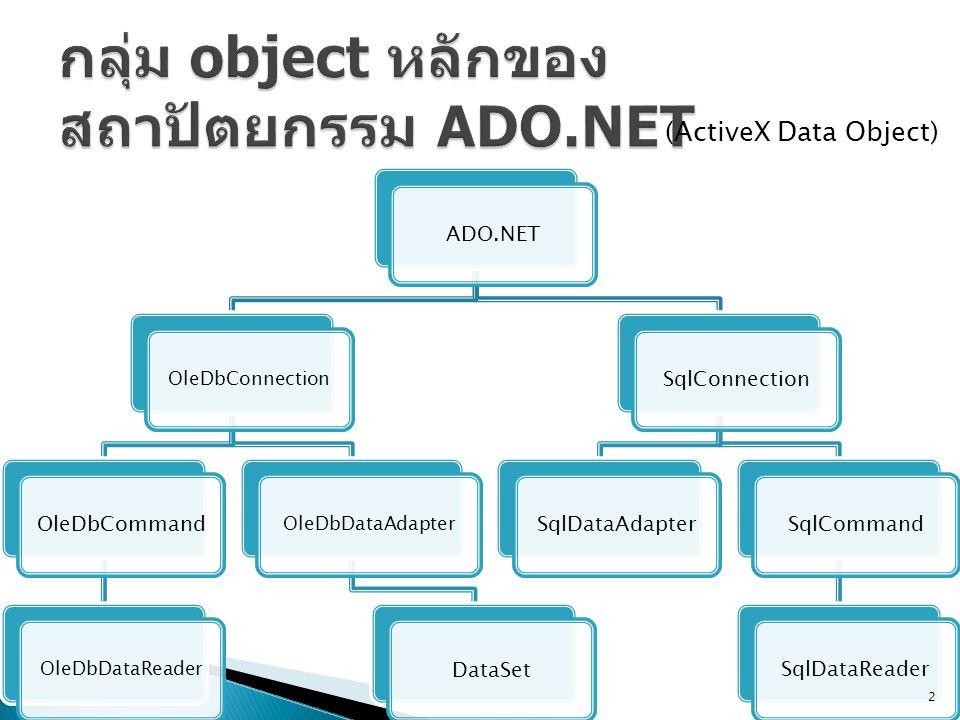 กลุ่ม object หลักของสถาปัตยกรรม ADO.NET