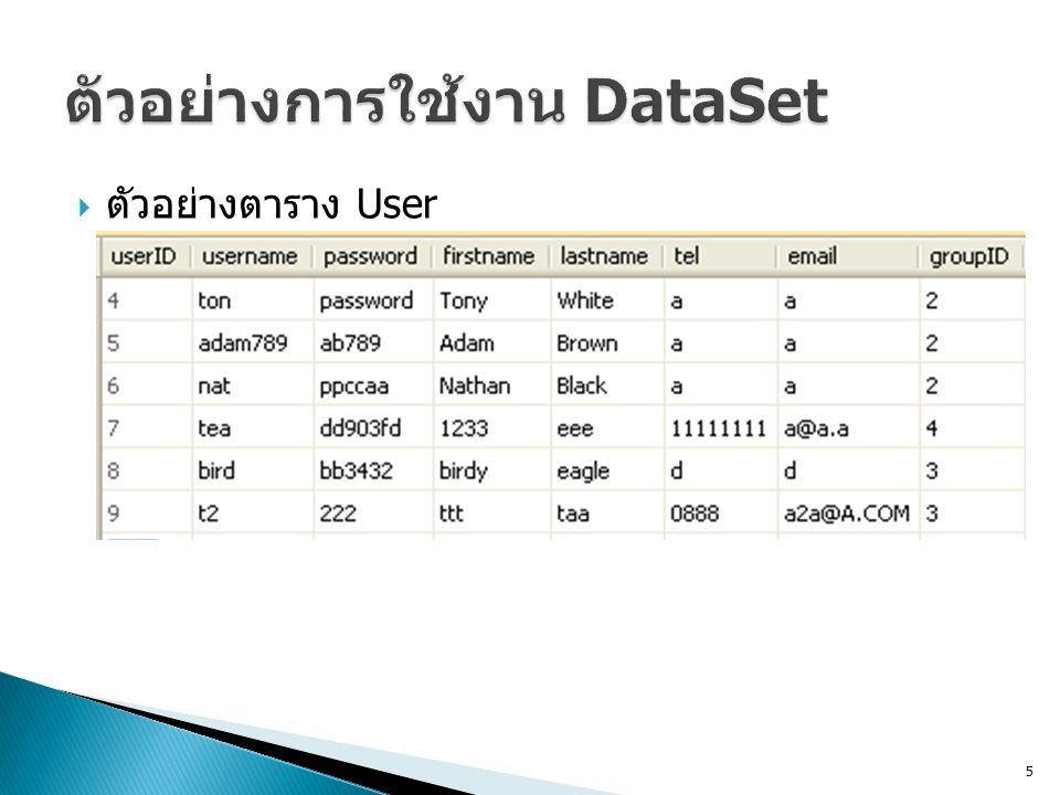 ตัวอย่างการใช้งาน DataSet