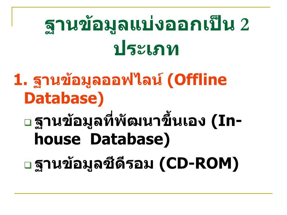 ฐานข้อมูลแบ่งออกเป็น 2 ประเภท
