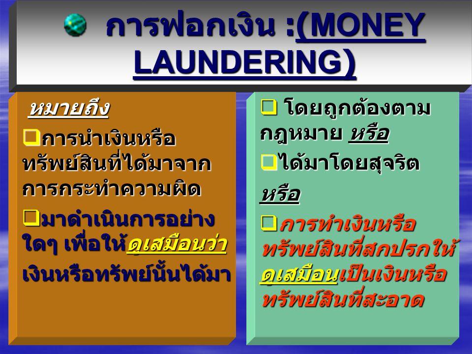 การฟอกเงิน :(MONEY LAUNDERING)