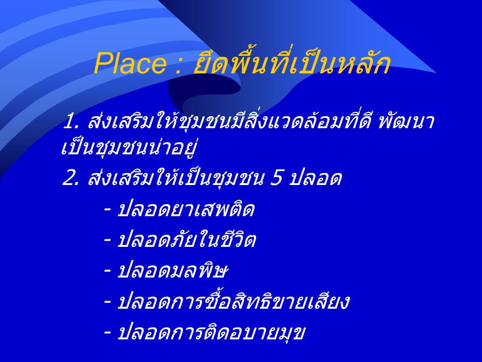 Place : ยึดพื้นที่เป็นหลัก