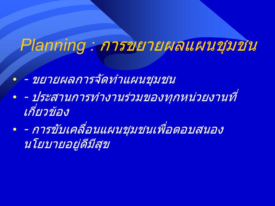 Planning : การขยายผลแผนชุมชน