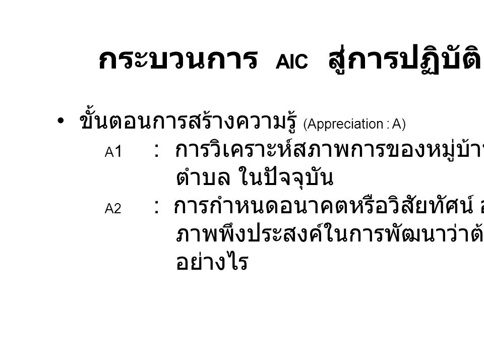 กระบวนการ AIC สู่การปฏิบัติ