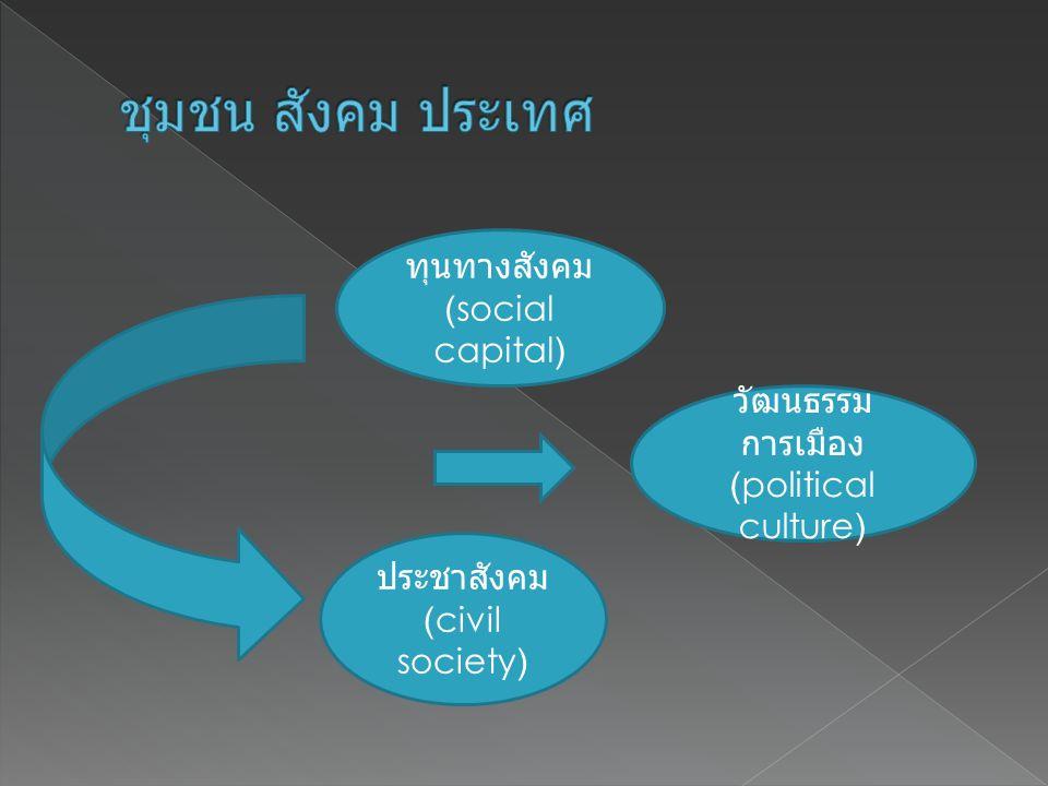 ชุมชน สังคม ประเทศ ทุนทางสังคม (social capital) วัฒนธรรมการเมือง