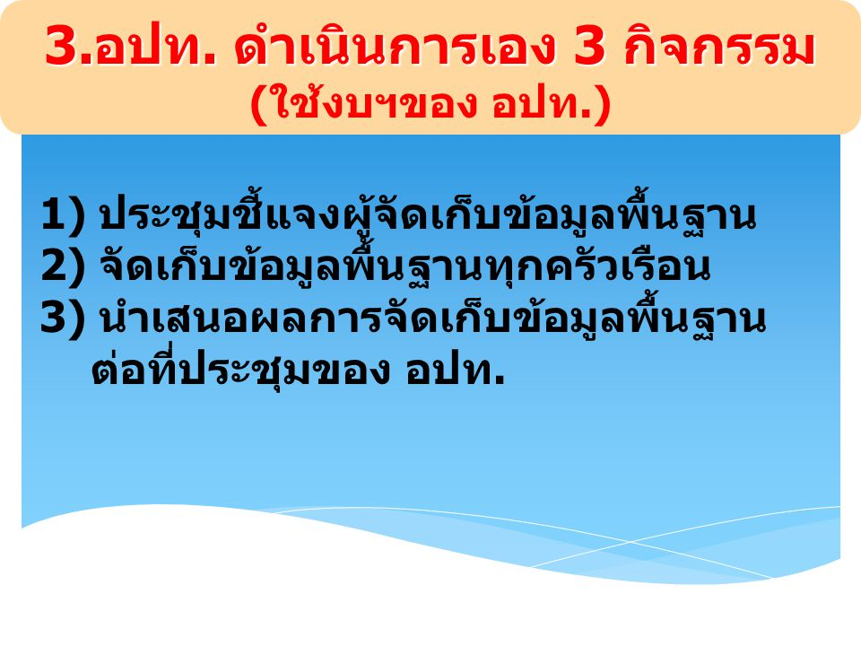 3.อปท. ดำเนินการเอง 3 กิจกรรม (ใช้งบฯของ อปท.)