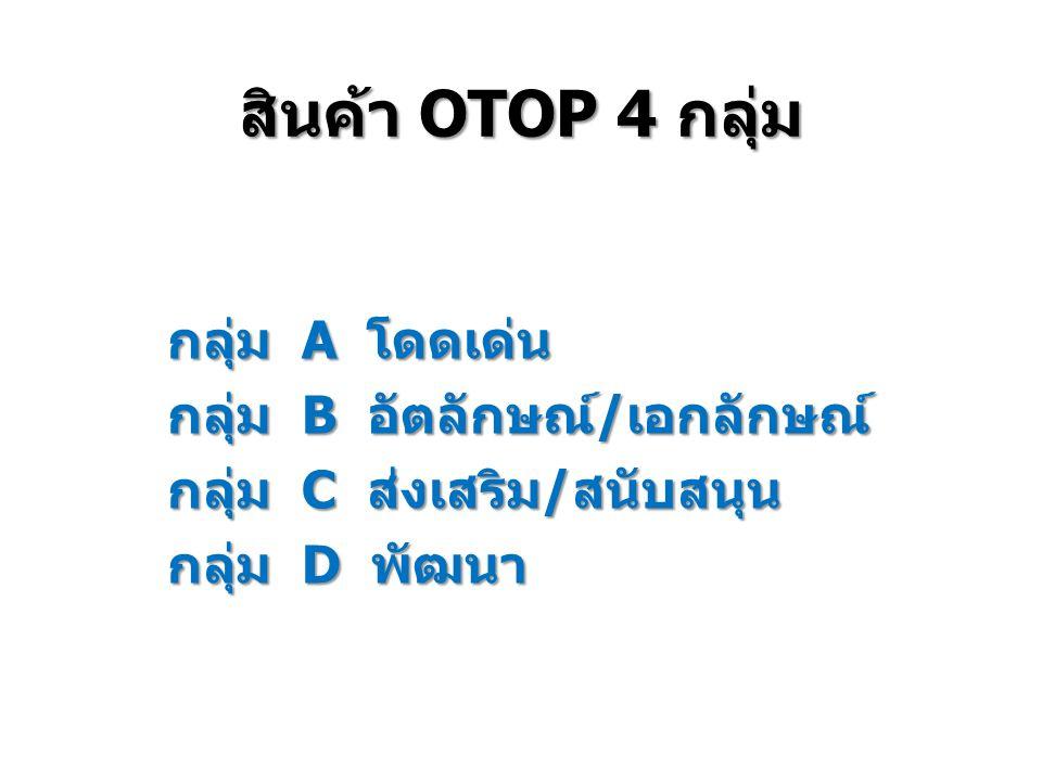 สินค้า OTOP 4 กลุ่ม กลุ่ม A โดดเด่น กลุ่ม B อัตลักษณ์/เอกลักษณ์