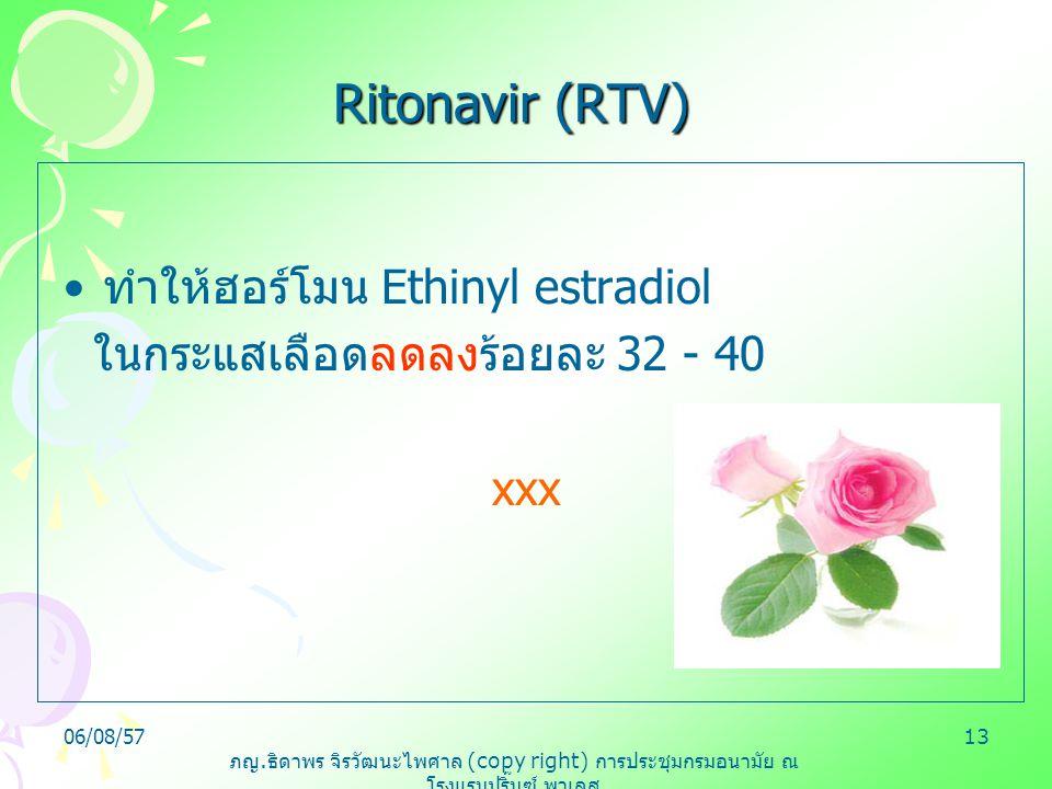 Ritonavir (RTV) ทำให้ฮอร์โมน Ethinyl estradiol