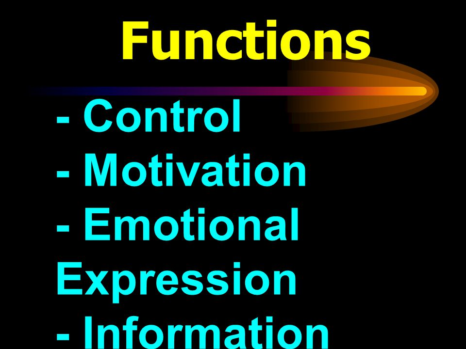 Functions - Control - Motivation - Emotional Expression - Information
