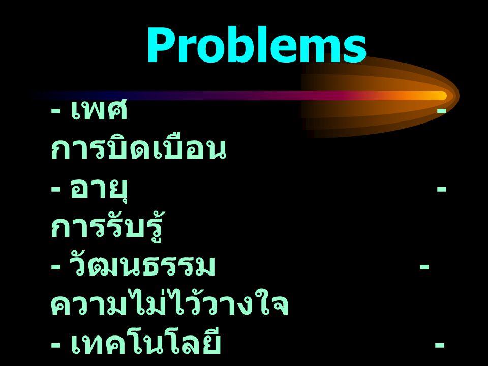 Problems - เพศ - การบิดเบือน - อายุ - การรับรู้