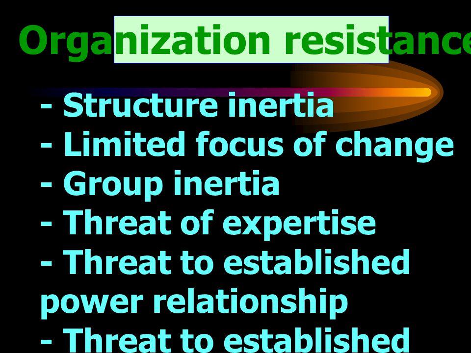 Organization resistance