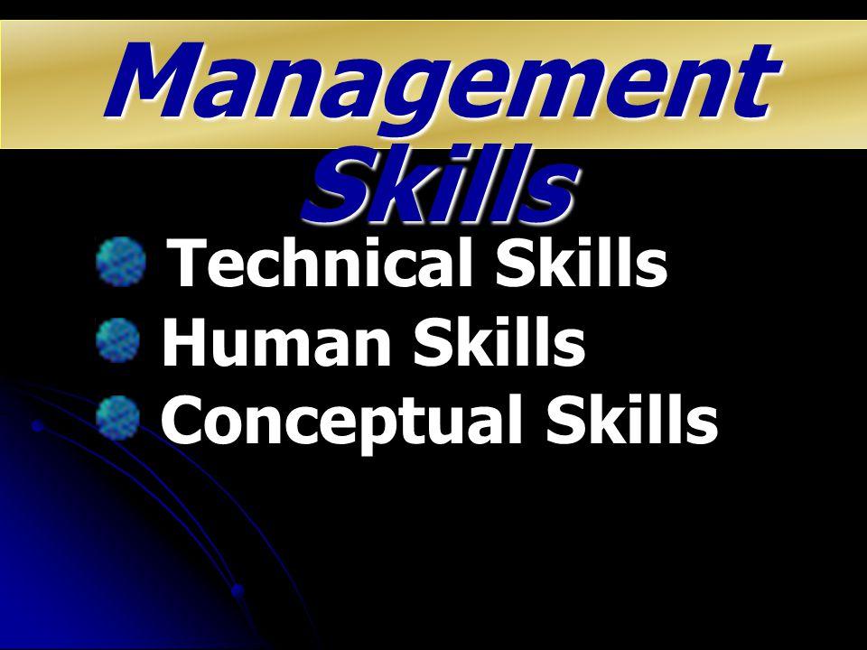 Management Skills Technical Skills Human Skills Conceptual Skills
