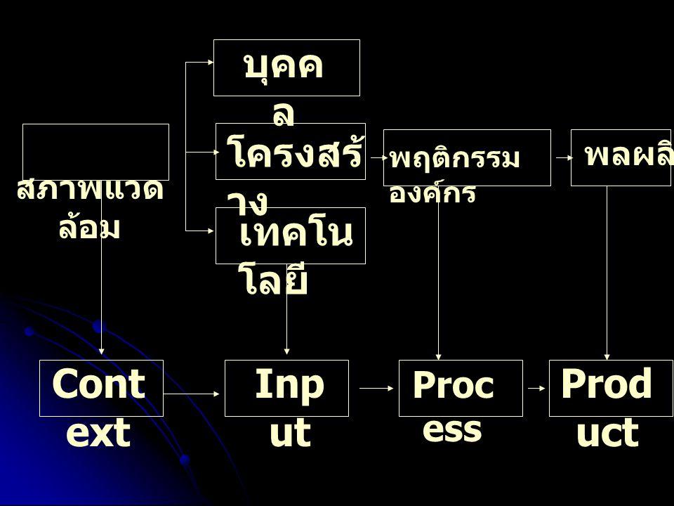 บุคคล โครงสร้าง เทคโนโลยี Process Context Input Product สภาพแวดล้อม