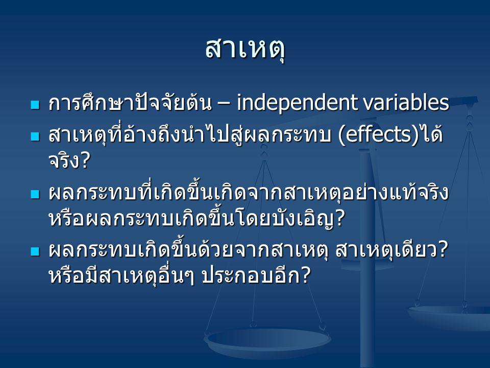 สาเหตุ การศึกษาปัจจัยต้น – independent variables