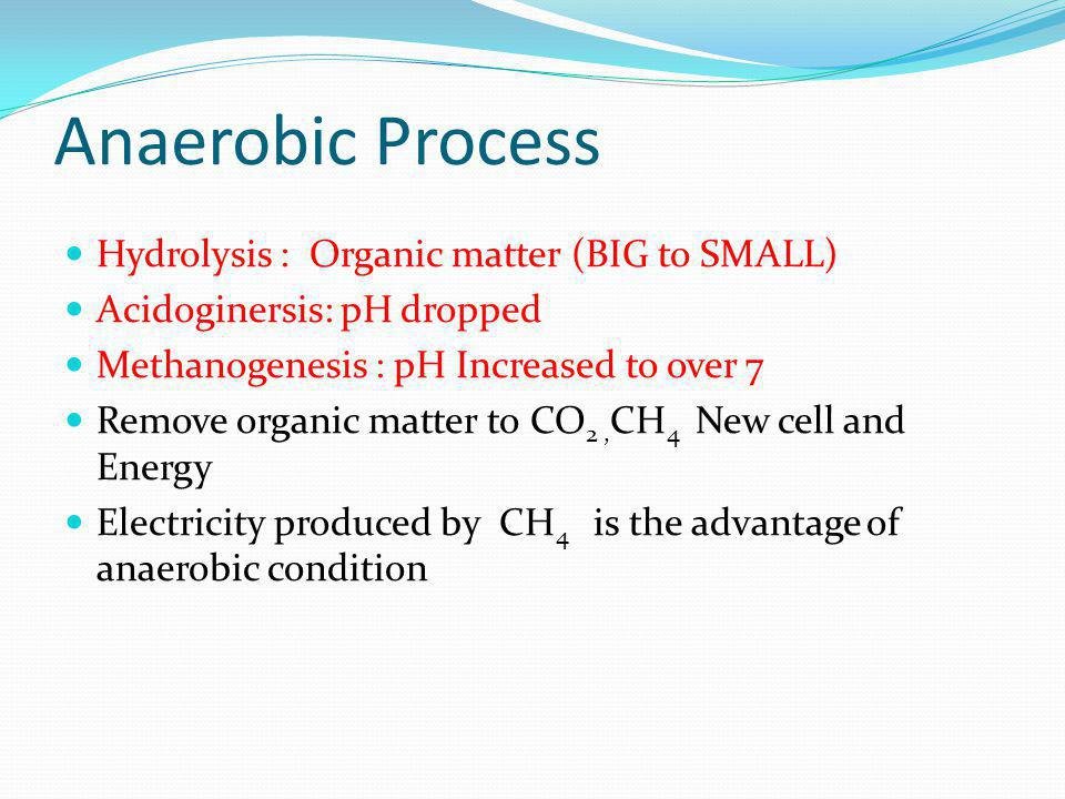 Anaerobic Process Hydrolysis : Organic matter (BIG to SMALL)