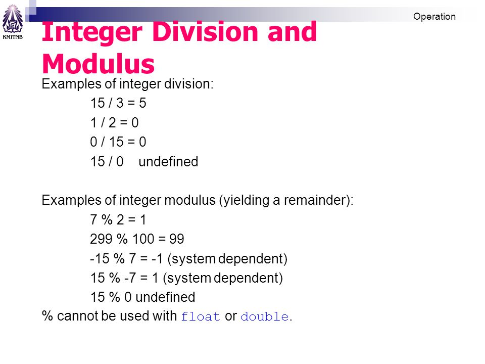 Integer Division and Modulus