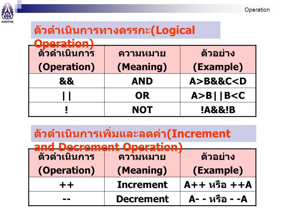 ตัวดำเนินการทางตรรกะ(Logical Operation)