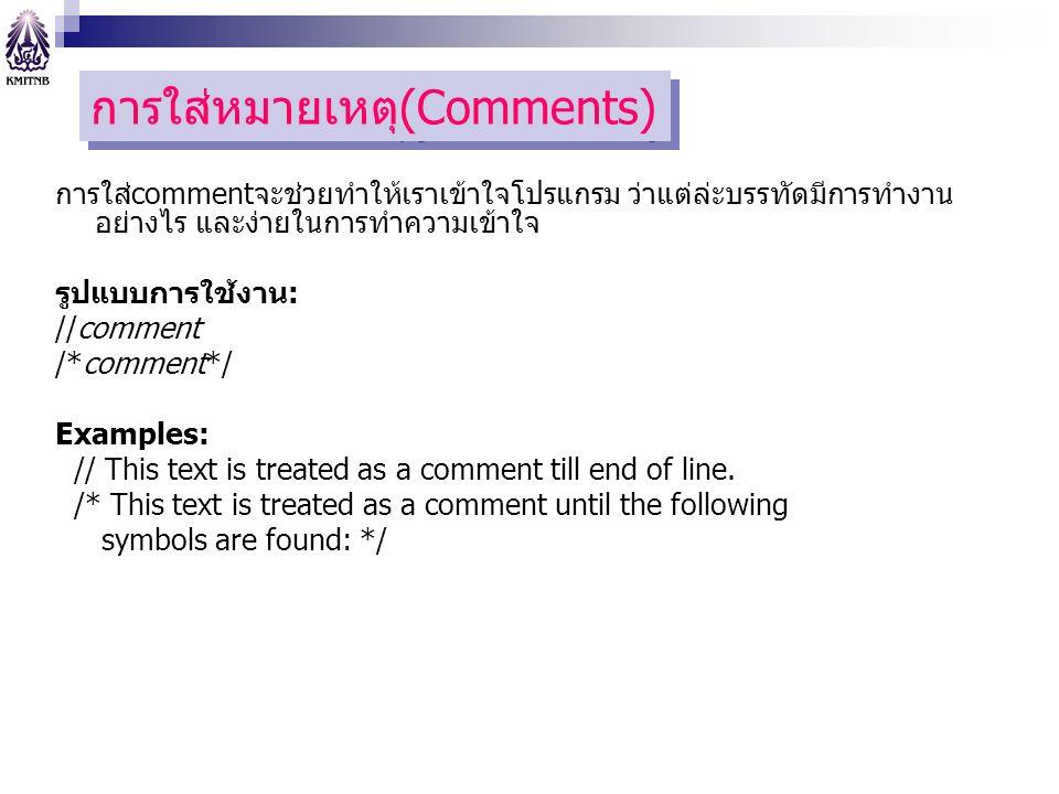 การใส่หมายเหตุ(Comments)