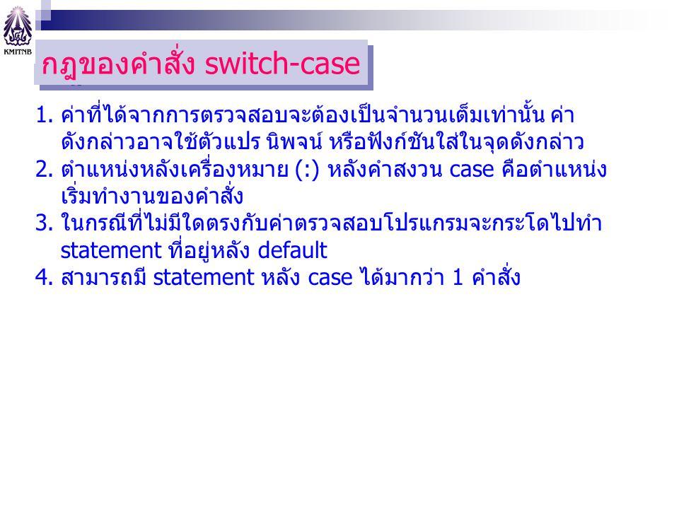 กฎของคำสั่ง switch-case