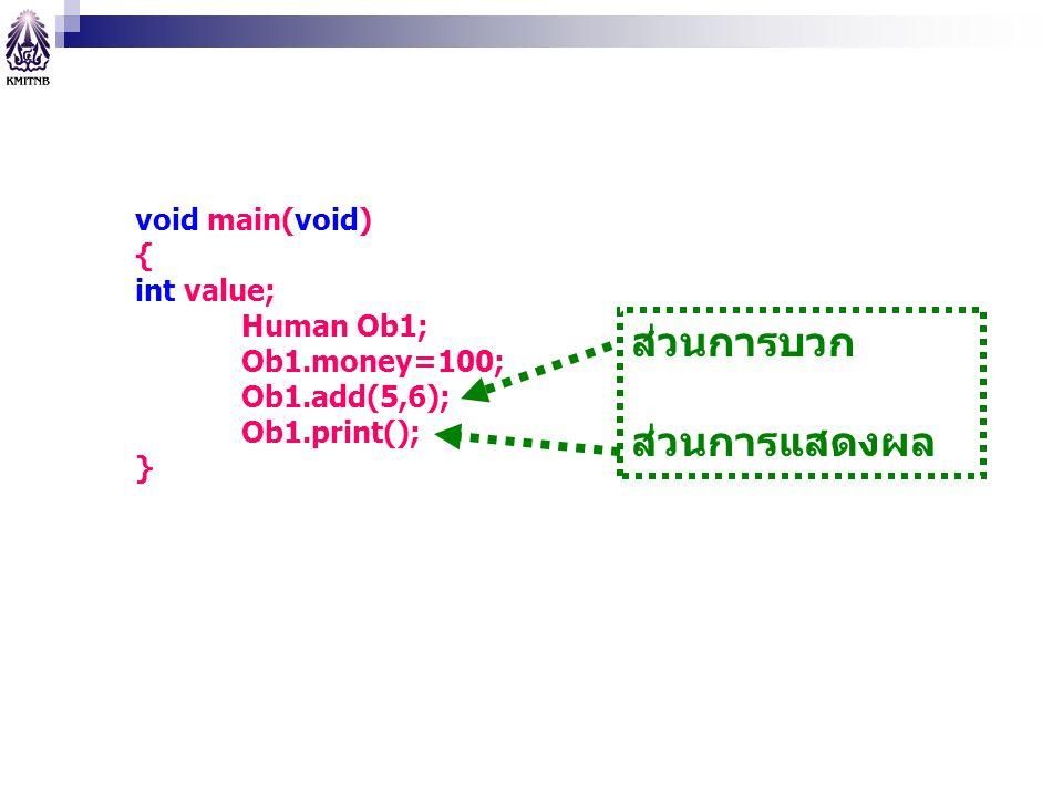 ส่วนการบวก ส่วนการแสดงผล void main(void) { int value; Human Ob1;