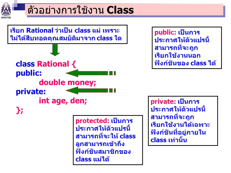 ตัวอย่างการใช้งาน Class