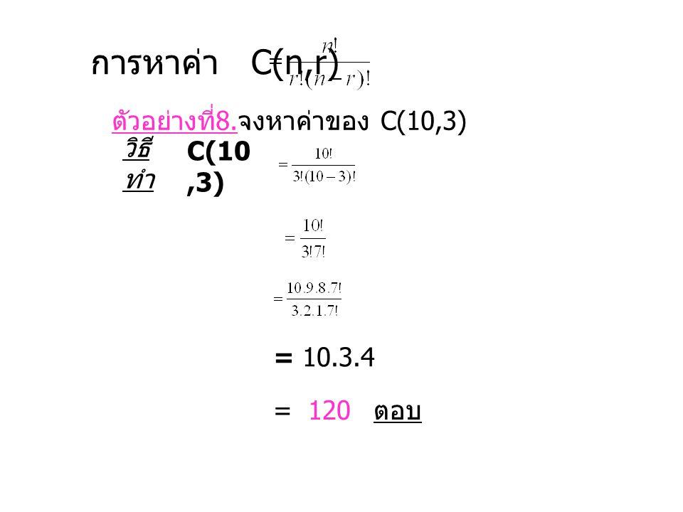 การหาค่า C(n,r) ตัวอย่างที่8.จงหาค่าของ C(10,3) วิธีทำ C(10,3)
