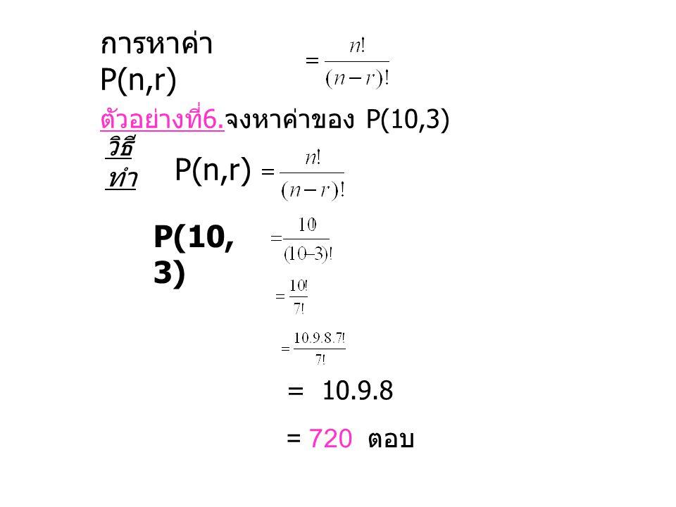 การหาค่า P(n,r) P(n,r) ตัวอย่างที่6.จงหาค่าของ P(10,3) วิธีทำ P(10,3)