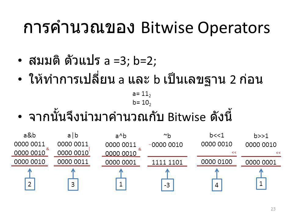 การคำนวณของ Bitwise Operators