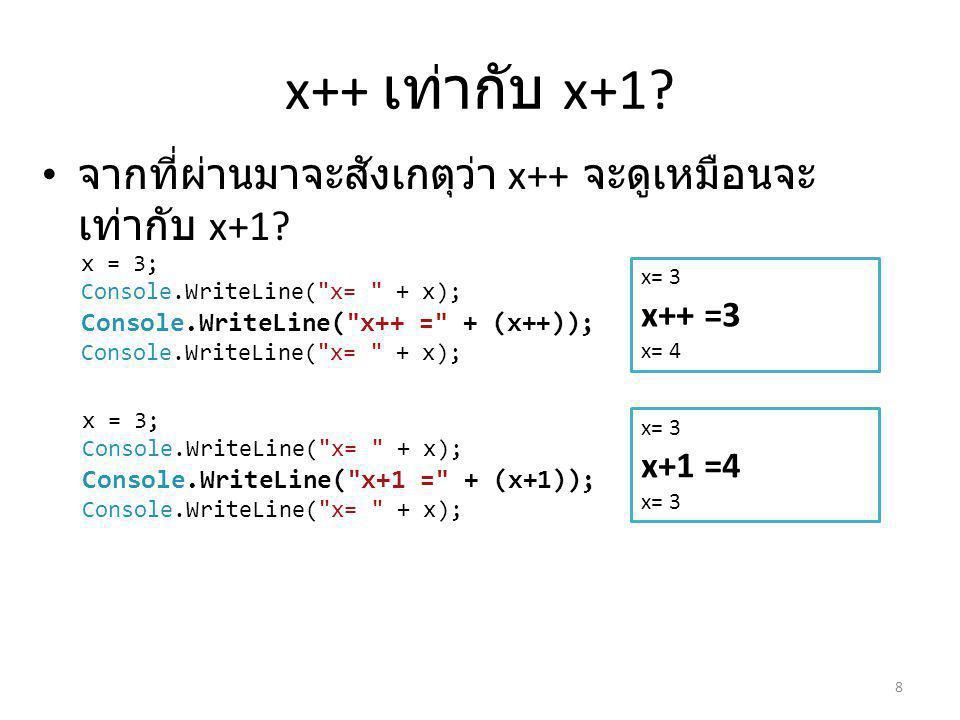 x++ เท่ากับ x+1 จากที่ผ่านมาจะสังเกตุว่า x++ จะดูเหมือนจะเท่ากับ x+1