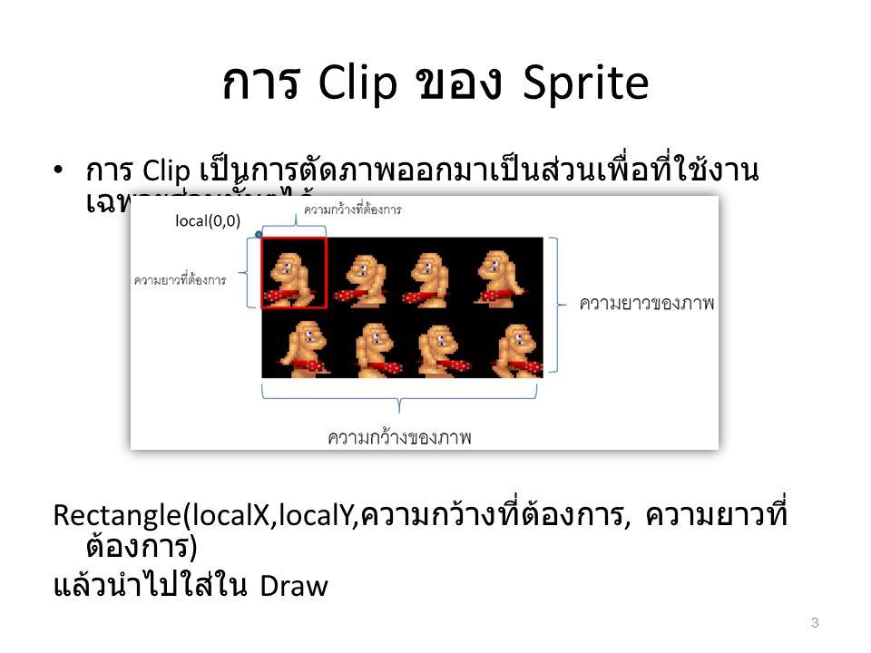 การ Clip ของ Sprite การ Clip เป็นการตัดภาพออกมาเป็นส่วนเพื่อที่ใช้งานเฉพาะส่วนนั้นๆได้
