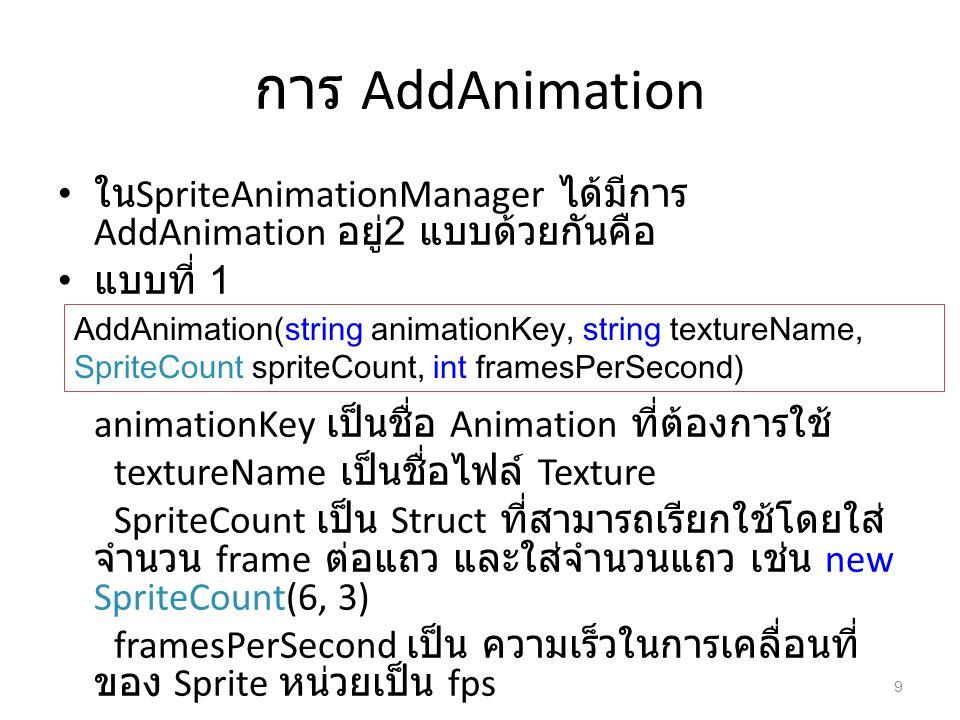 การ AddAnimation ในSpriteAnimationManager ได้มีการ AddAnimation อยู่2 แบบด้วยกันคือ. แบบที่ 1. animationKey เป็นชื่อ Animation ที่ต้องการใช้