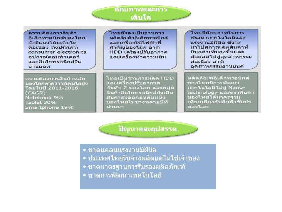 ศักยภาพและการเติบโต ปัญหาและอุปสรรค. ขาดแคลนแรงงานมีฝีมือ. ประเทศไทยรับจ้างผลิตแต่ไม่ใช่เจ้าของ. ขาดมาตรฐานการรับรองผลิตภัณฑ์