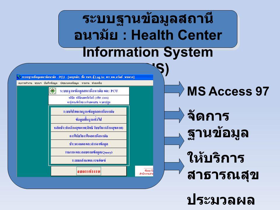 ระบบฐานข้อมูลสถานีอนามัย : Health Center Information System (HCIS)
