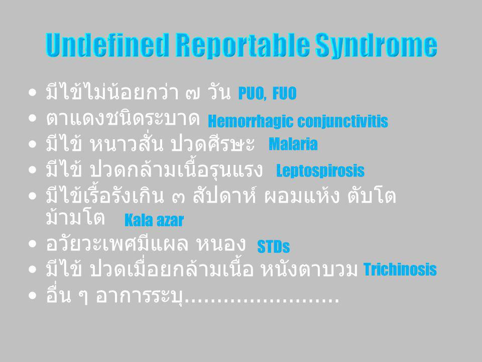 Undefined Reportable Syndrome