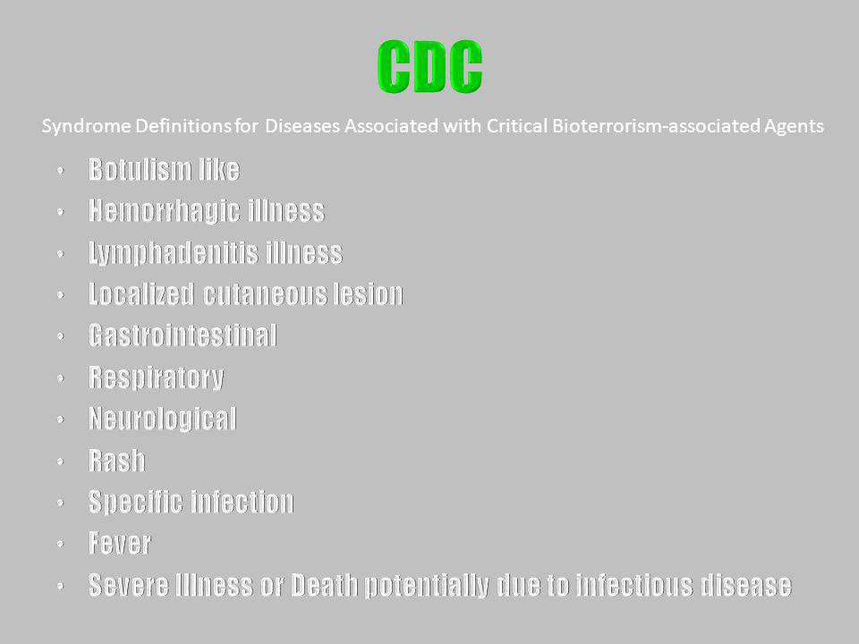 CDC Botulism like Hemorrhagic illness Lymphadenitis illness