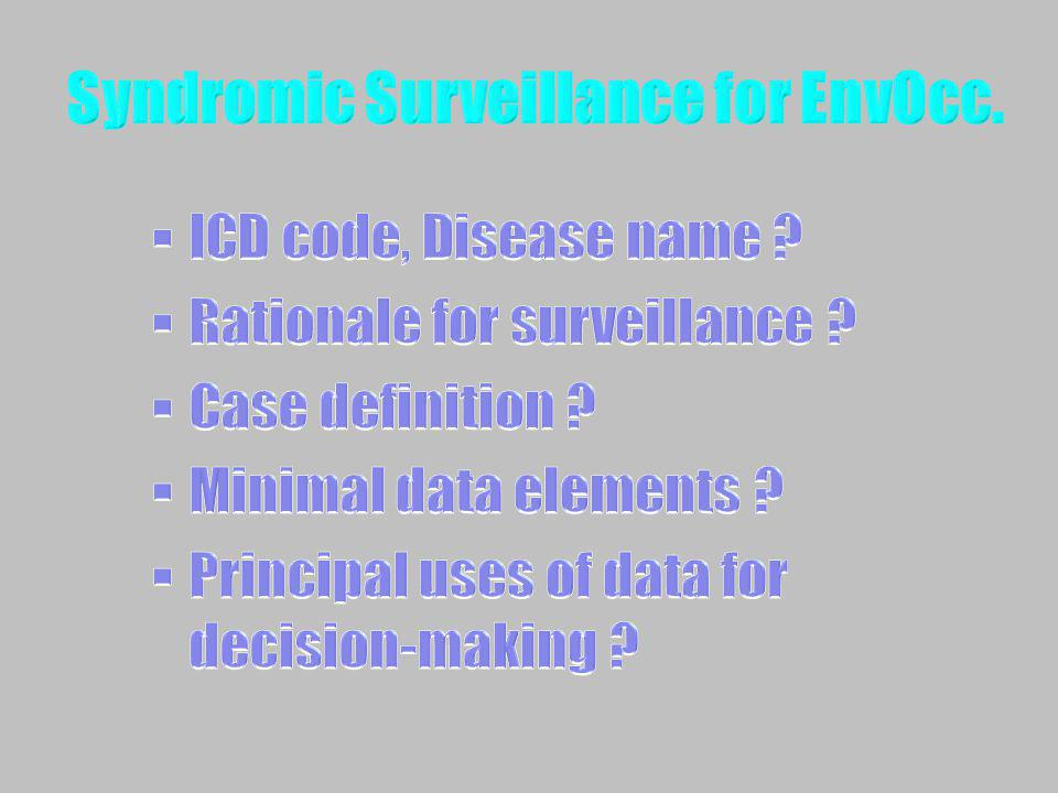 Syndromic Surveillance for EnvOcc.