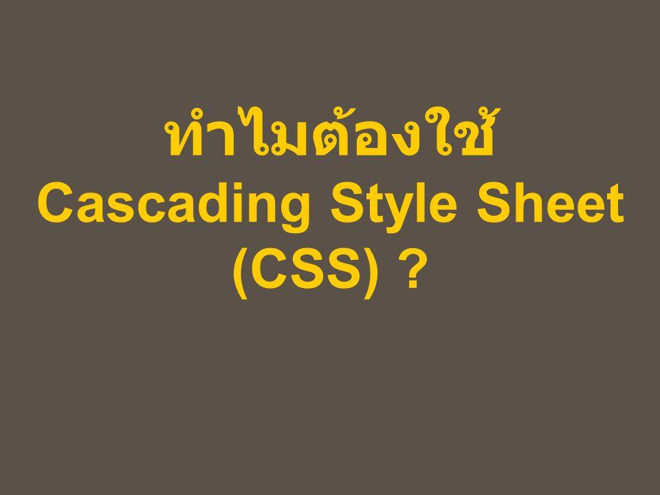 ทำไมต้องใช้ Cascading Style Sheet (CSS)