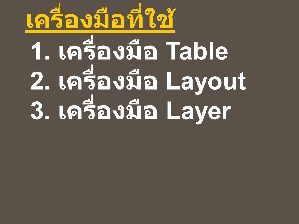 1. เครื่องมือ Table 2. เครื่องมือ Layout 3. เครื่องมือ Layer