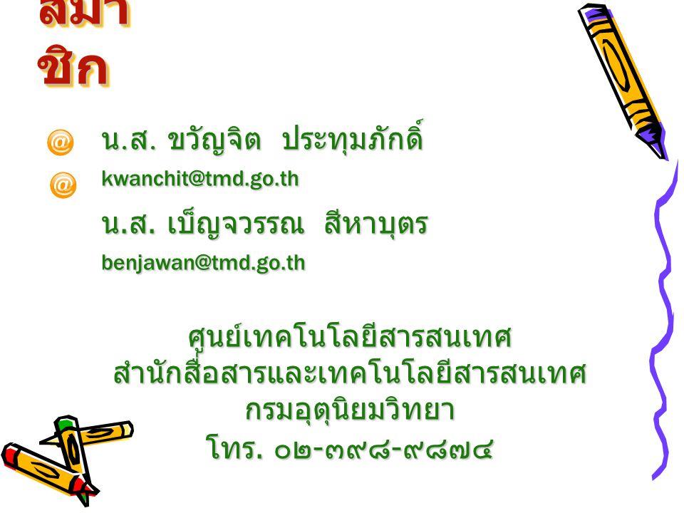 สมาชิก น.ส. ขวัญจิต ประทุมภักดิ์ kwanchit@tmd.go.th