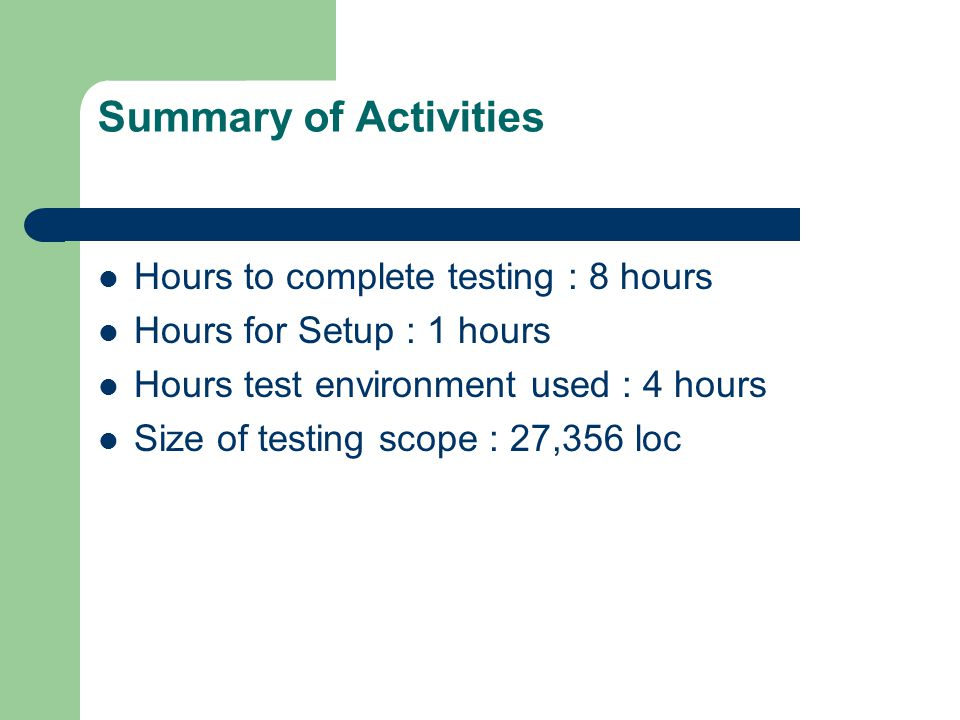 Summary of Activities Hours to complete testing : 8 hours