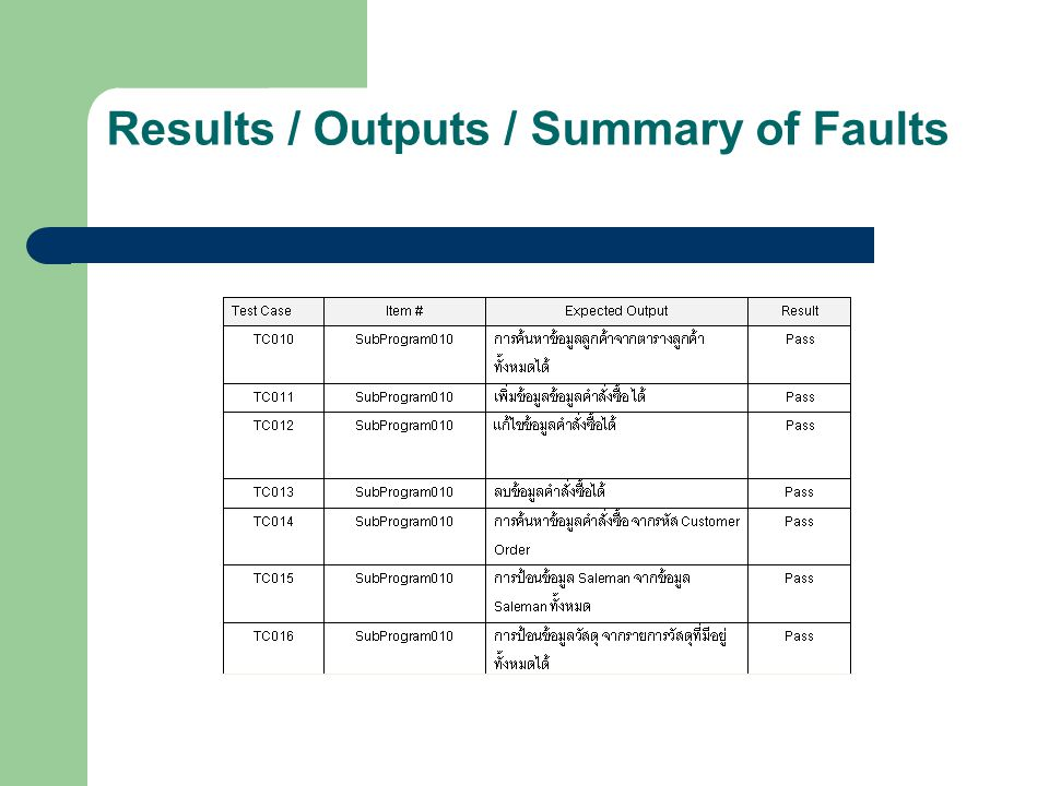 Results / Outputs / Summary of Faults