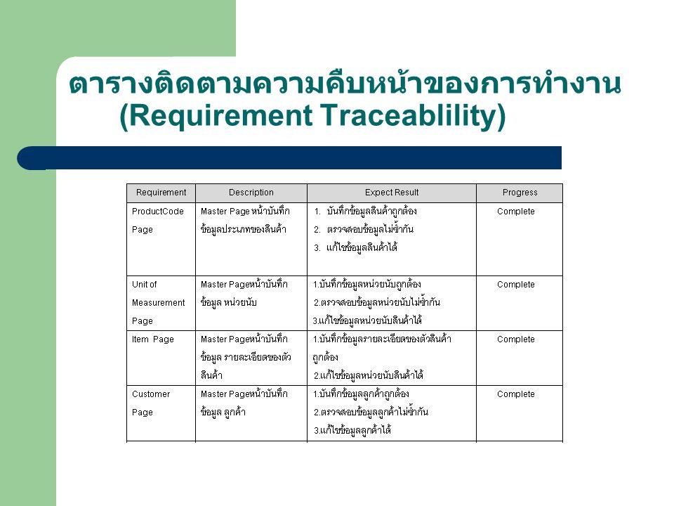 ตารางติดตามความคืบหน้าของการทำงาน (Requirement Traceablility)