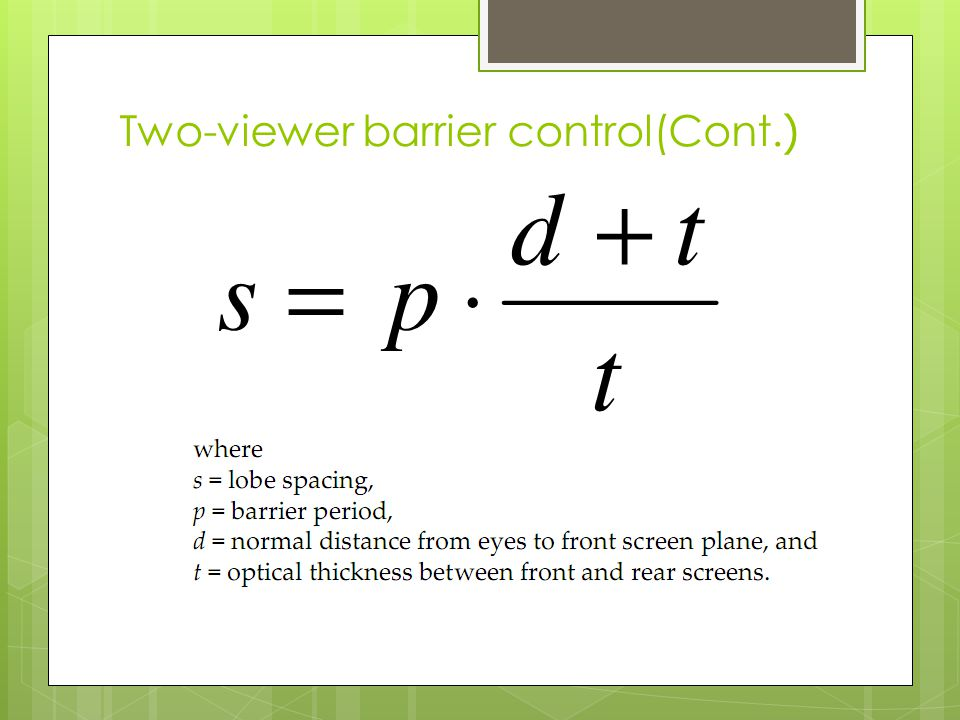 Two-viewer barrier control(Cont.)