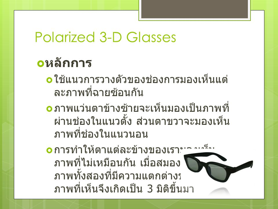 Polarized 3-D Glasses หลักการ